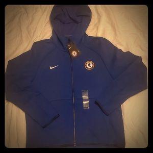 Nike Chelsea FC Tech Fleece Blue Full Zip Hoodie NWT
